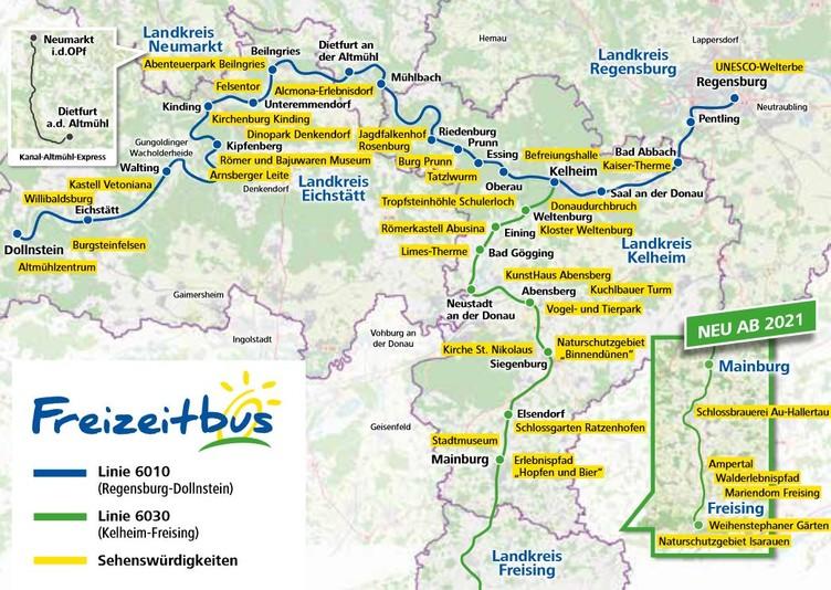 Streckenübersicht Freizeitbus-Linien